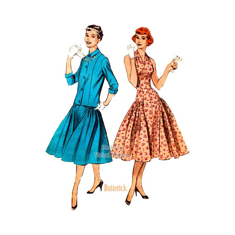 Vintage 50s Halter Dress Pattern, Butterick 7244