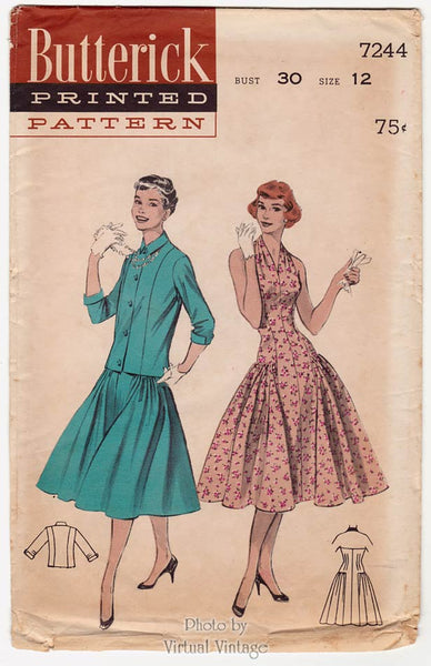 Butterick 7244, Vintage 50s Halter Dress Pattern