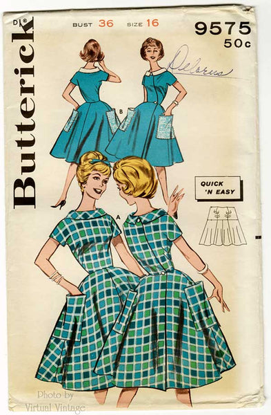 60s Easy Wrap Dress Pattern, Butterick 9575, Full Skirt Dress with Pockets, Bust 36 Uncut