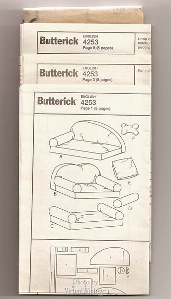 DIY Pet Bed Pattern, Butterick B4253, Cat or Dog Bed Sewing Patterns with Pillows, 32 38 & 42 Inches Wide, Uncut