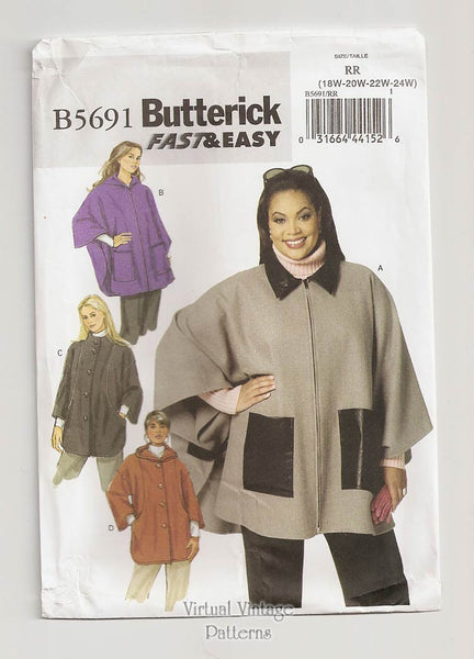 Butterick B5691 Plus Size Hooded Cape Pattern