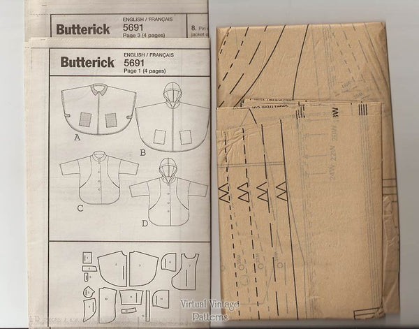 Plus Size Hooded Cape Pattern Butterick B5691, Easy Sewing Jacket or Cape Size 18W to 24W Uncut