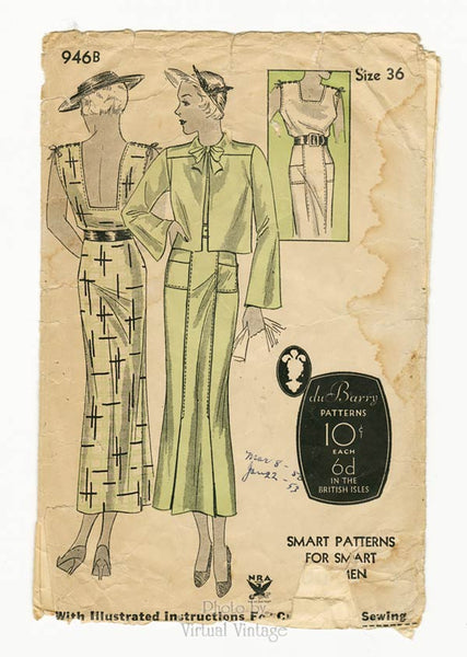 duBarry 946B, 1930s Dress Pattern