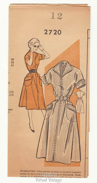 1950s Shirtwaist Dress Pattern New Style 2720 One Piece Dress with Pockets, Belt, Uncut