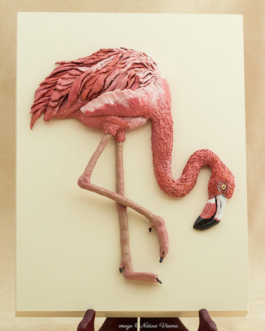 American Flamingo Wall Art, Bird Lover Gifts, Polymer Clay Wall Hanging Sculpture