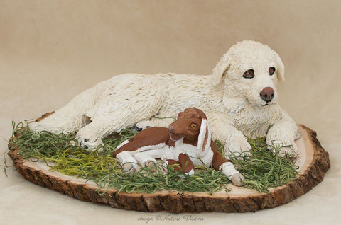 Great Pyrenees Figurine dog and goat sculpture