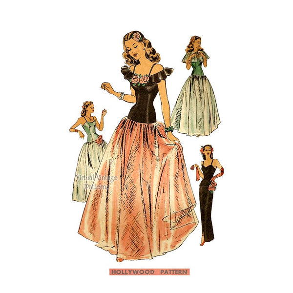 1940s Drop Waist Ball Gown or Evening Dress Pattern, Hollywood 1501