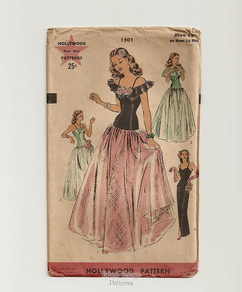 Hollywood Pattern 1501, 1940s Drop Waist Ball Gown Sewing Pattern
