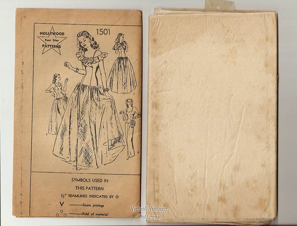 1940s Drop Waist Ball Gown or Evening Dress Pattern, Hollywood 1501, Sleeveless Gown or Sheath Dress