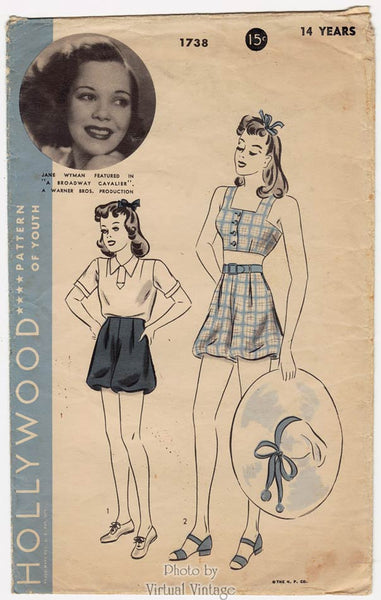 Jane Wyman, Hollywood Sewing Pattern 1738, 1930s Playsuit