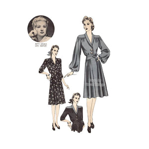 1940s Betty Grable Hollywood Pattern 731 Dress Sewing Pattern
