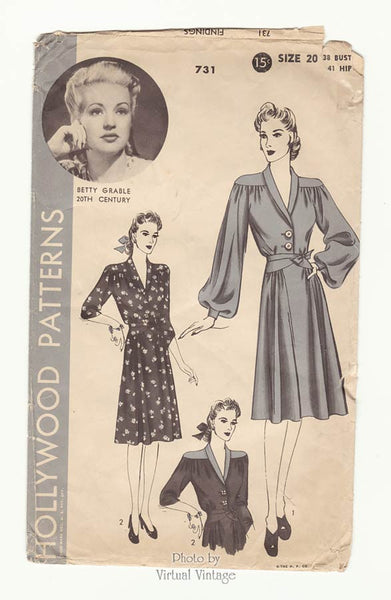 1940s Betty Grable Hollywood Pattern 731