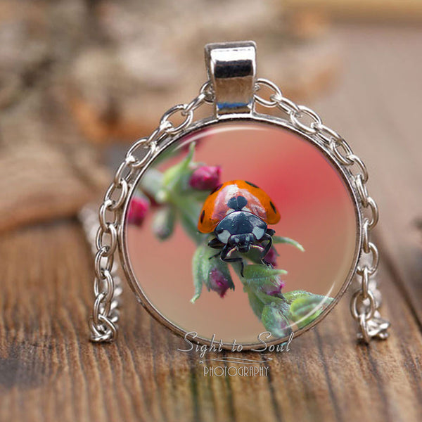 ladybug pendant necklace, gifts for bug lovers