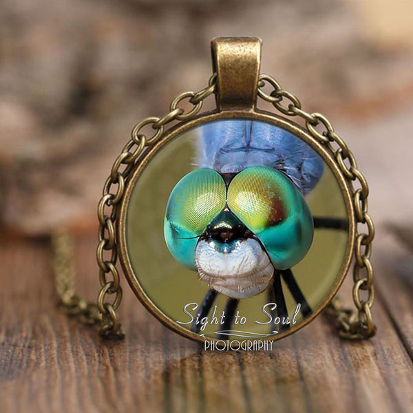 Blue Dragonfly Necklace, Insect Photo Pendant, Bug Jewelry