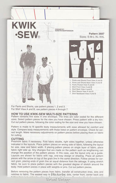 Mens Clothing Patterns, Kwik Sew 2687, Mens T-Shirts, Shorts & Pants, Sizes S M L XL XXL, Uncut