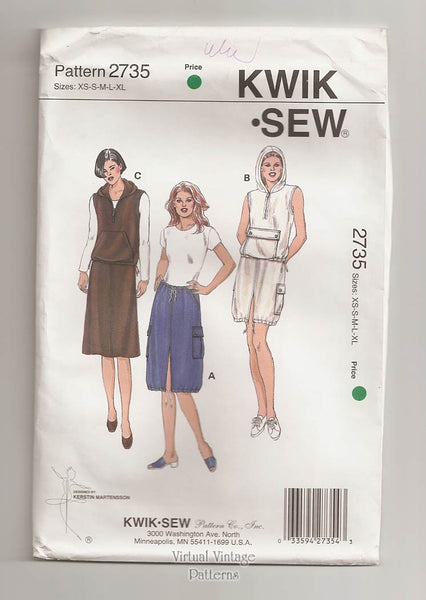 Kwik Sew 2735, Hoodie Vest Pattern with Cargo Skirt, XS to XL