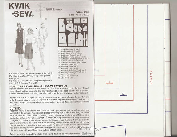 Hoodie Vest Pattern with Cargo Skirt, Kwik Sew 2735, Sizes XS to XL, Uncut