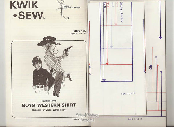 Boys Western Shirt Pattern, Kwik Sew 492, Sizes 4 6 8 10, Uncut