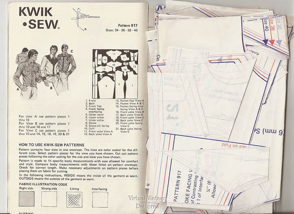 Kwik Sew 917, Mens Western Shirt Pattern, Chest Size 34 36 38 40