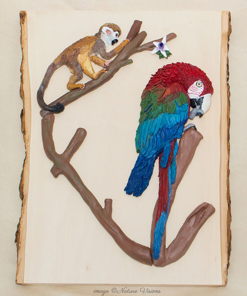 Parrot Art, Rainforest Decor, Monkey and Macaw Sculpture