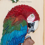 Green-winged Macaw sculpture, polymer clay bird