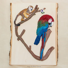 Green-winged Macaw Wall Art, Squirrel Monkey and Parrot Sculpture, Rainforest Décor