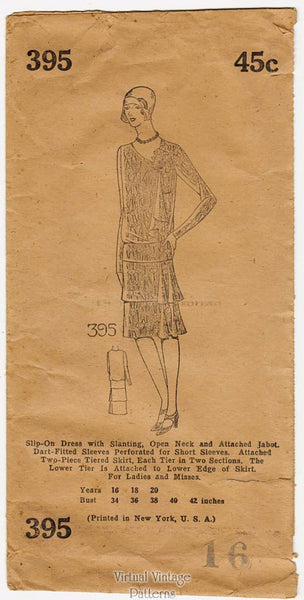 Mail Order 395, 1920s Flapper Dress Pattern