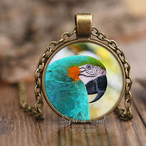 Blue and Gold Macaw Necklace, Parrot Lover Gifts, Bird Jewelry
