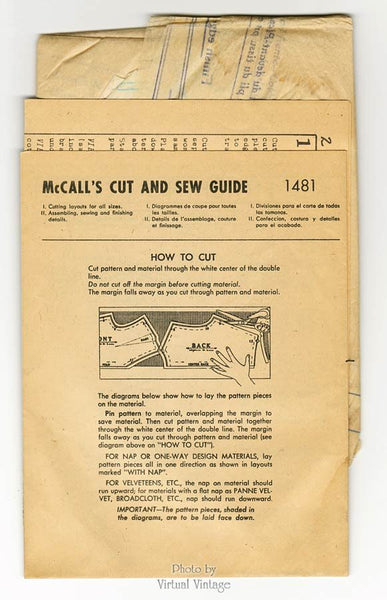 1940s Unisex Apron Pattern McCall 1481 Vintage His and Hers Cooking Aprons Uncut FF