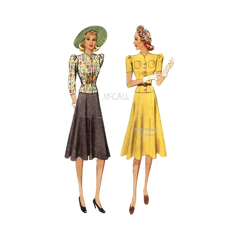 1930s Dress Pattern, McCall 3177, Two Piece Dress