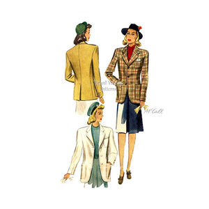1940s Womens Suit Jacket Vintage Sewing Pattern, McCall 4065