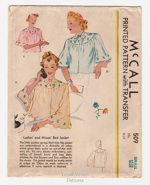 McCall 509, 30s Bed Jacket Pattern
