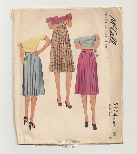 McCall 5174, 40s Pleated Skirt Sewing Pattern