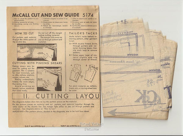 1940s Skirt Sewing Pattern, McCall 5174, Waist 24 Vintage Pleated Skirt Pattern, Uncut