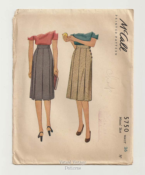 McCall 5750, 1940s Pleated Skirt Pattern