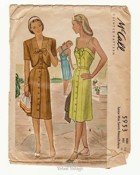 McCall 5953, 1940s Bolero & Sundress Pattern