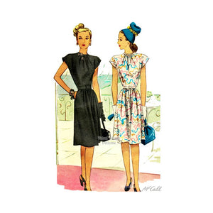 40s Dress Pattern, McCall 6402, Vintage Sewing Patterns