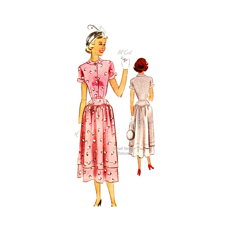 1940s Tea Dress Pattern, McCall 7607