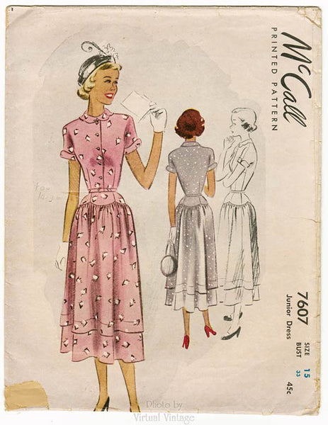 McCall 7607, 1940s Tea Dress Pattern