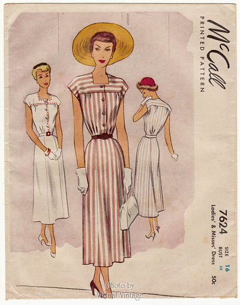McCall 7624 1940s Day Dress Pattern