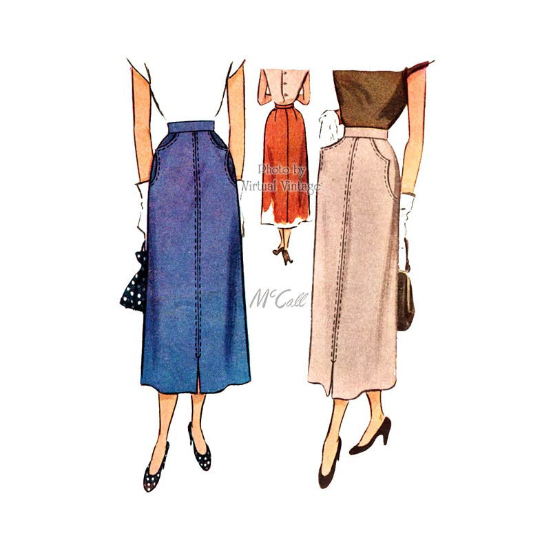 1940s Slim Skirt Pattern, McCall 7642, Vintage Skirt Sewing Pattern with Pockets, Waist 24