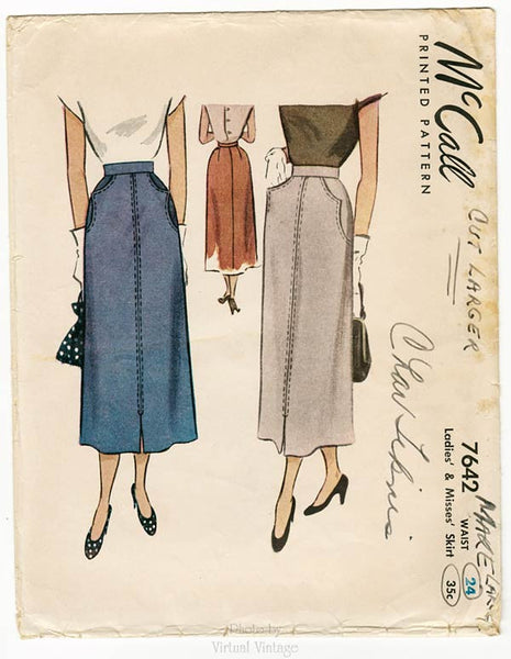 McCall 7642, Vintage Skirt Sewing Pattern with Pockets, Waist 24