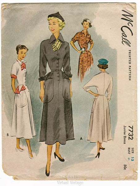 McCall Sewing Pattern 7732, 1940s Shirtwaist Dress with Dolman Sleeves