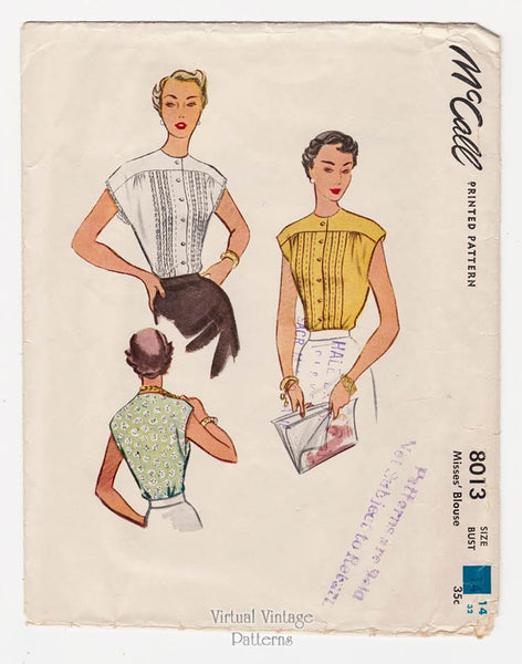 McCall 8013, 50s Cap Sleeve Blouse Pattern