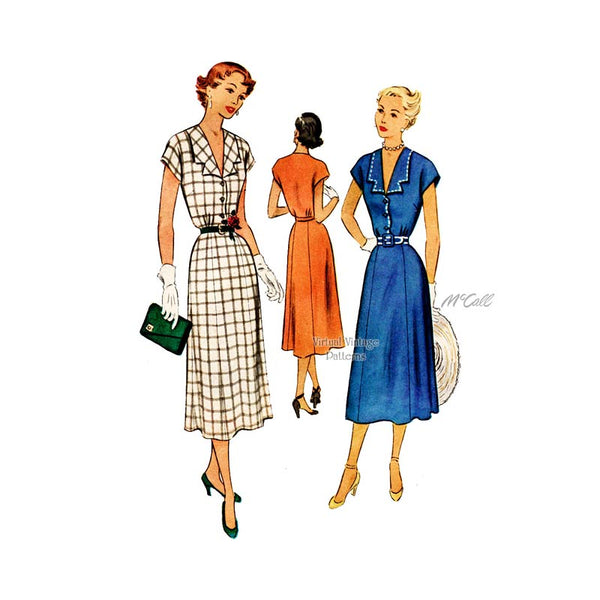 1950s Day Dress Sewing Pattern, McCall 8040