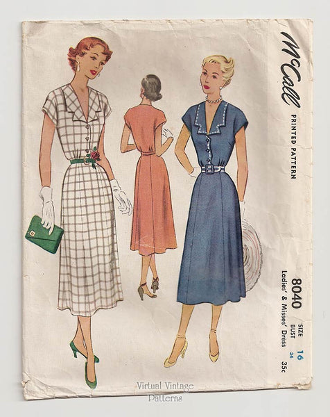 McCall 8040, 50s Day Dress Sewing Pattern