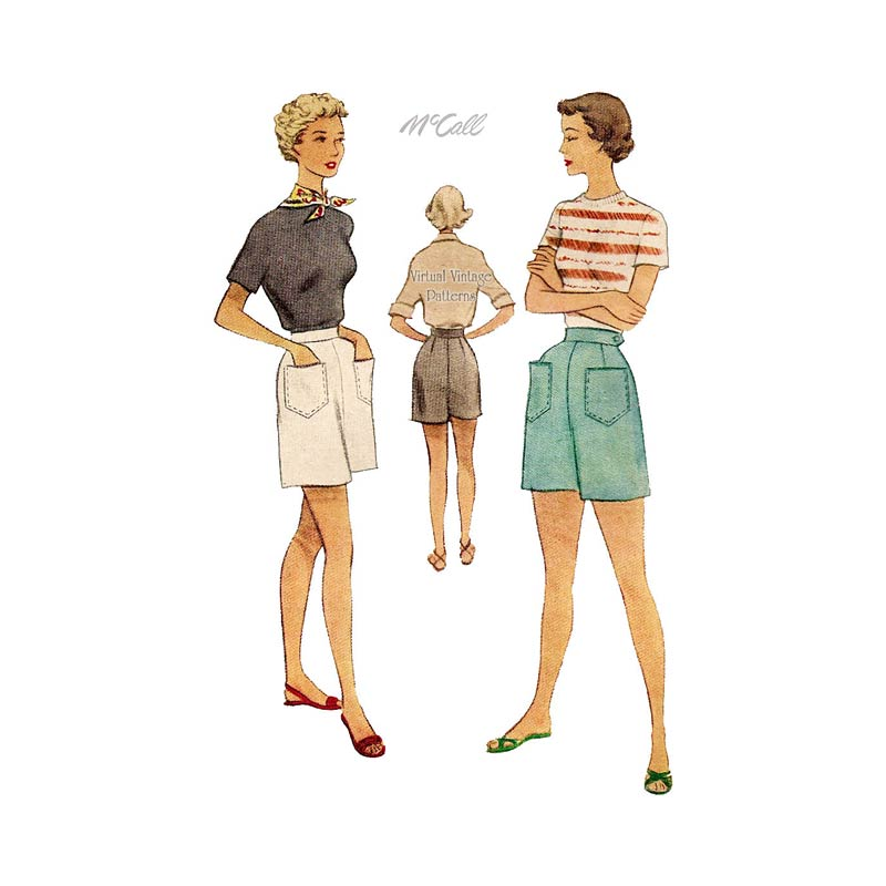 1950s Womens Shorts Sewing Pattern, McCall 8061