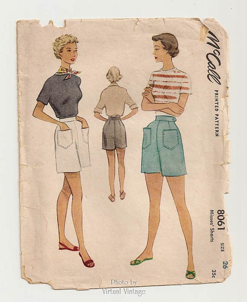McCall 8061, 1950s Womens Shorts Sewing Pattern