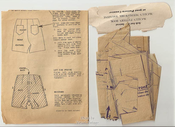 1950s Womens Shorts Sewing Pattern, McCall 8061, Waist 26 Shorts with Pockets