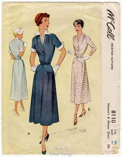 McCall 8110, 1950s Shirtwaist Dress Pattern